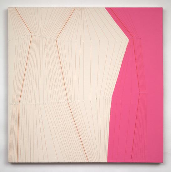 """bulge #24 , 2009 acrylic and thread on canvas 36 X 36"""""""