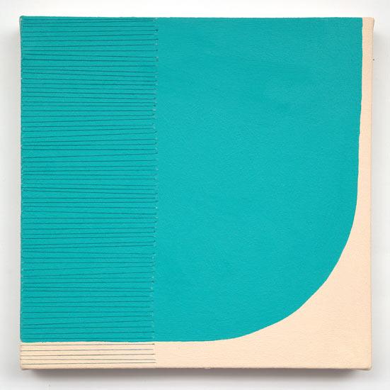 "wish # 1 , 2010 acrylic and thread on canvas 12 X 12"""