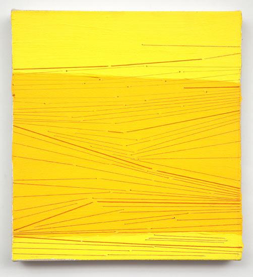 """snap #22 , 2009 acrylic and thread on canvas 13 X 12"""""""