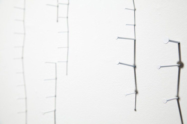 """detail from shadow drawing #1 , 2010 nails, acrylic and shadow on wall 36 x 32"""" (dimensions variable)"""