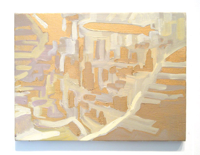 Zeppelin over Manhattan , 2007 oil and pigment on board 8 x 10 inches