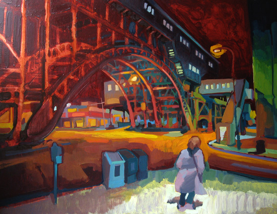 Night Transit , 2008 oil on copper  20 1/4 x 26 inches