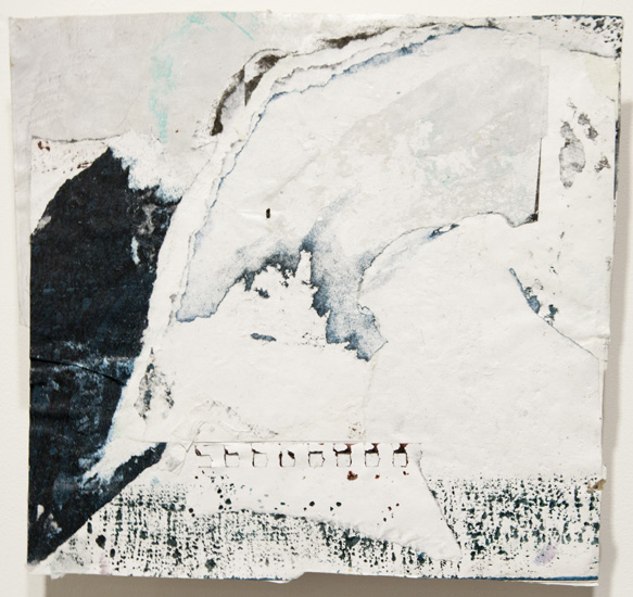 east , 2010 acrylic paint and pasted paper 12 1/8 x 10 3/4 inches