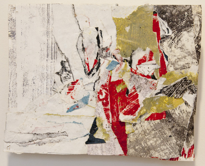 knees and knuckles, smoke and skin , 2010 acrylic paint and pasted paper 8 x 9 3/4 inches