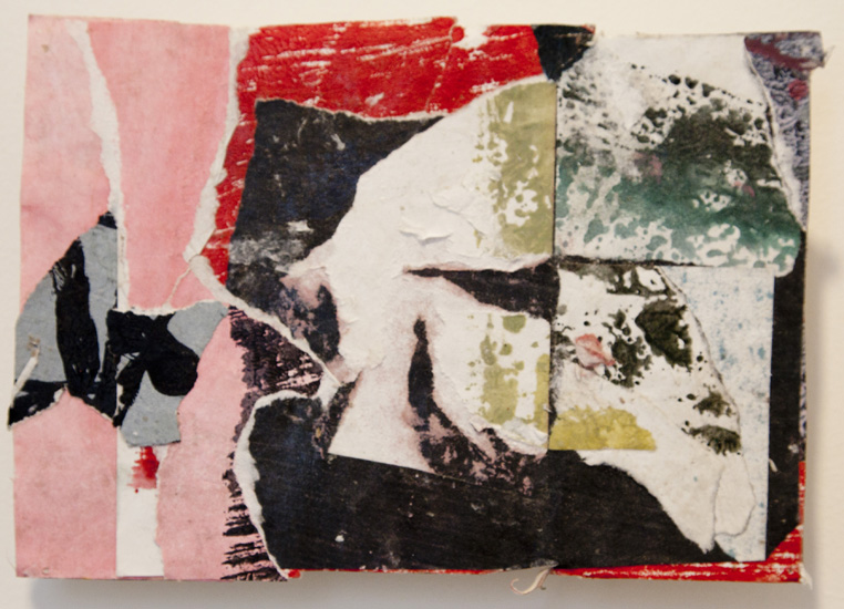the head on the floor , 2010 acrylic paint and pasted paper 6 x 8 1/2 inches
