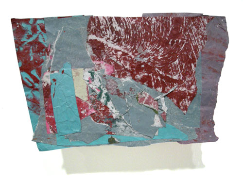 Postcard from Florida #138 , 2008 acrylic paint and pasted paper 4 x 6 3/4 inches