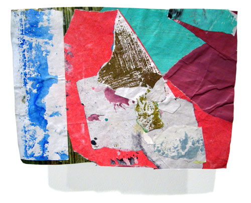 Postcard from Florida #174 , 2007 acrylic paint and pasted paper 6 X 8 3/8 inches