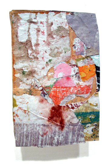 Postcard from Florida #104 , 2007 acrylic paint and pasted paper 5 1/2 X 3 1/2 inches