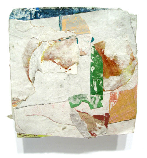 Postcard from Florida #122 , 2007 acrylic paint and pasted paper 6 1/2 X 6 1/4 inches
