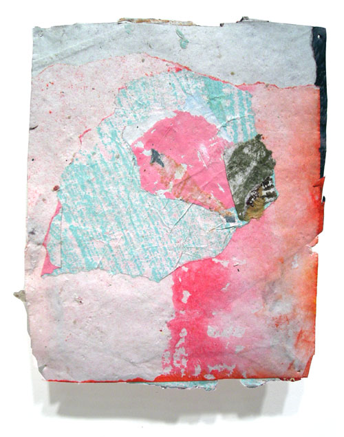 Postcard from Florida #128 , 2008 acrylic paint and pasted paper 7 X 5 1/2 inches