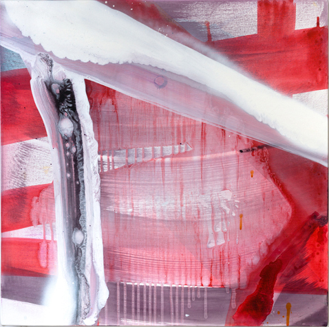 "Red Sky,  2012 acrylic and spray paint on canvas  24"" x 24"""