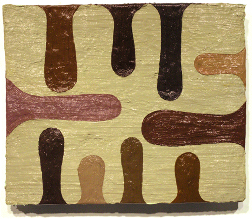 "boys club #3 , 2009 oil paint, medium on carpet 13.5"" x 16.5"""