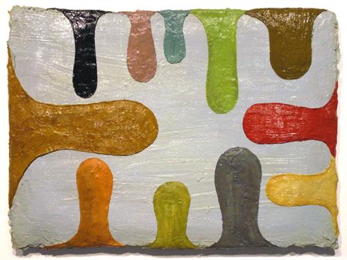 """boys club , 2009 oil paint, medium on plywood 22"""" x 30"""""""