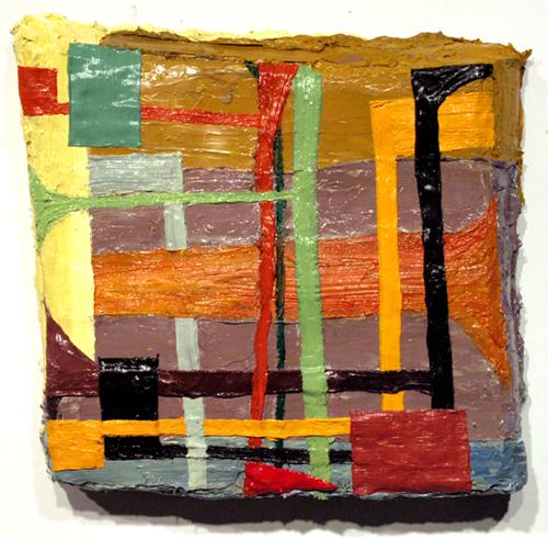 "clattertrap , 2008 oil paint, medium on carpet 15"" x 16"""
