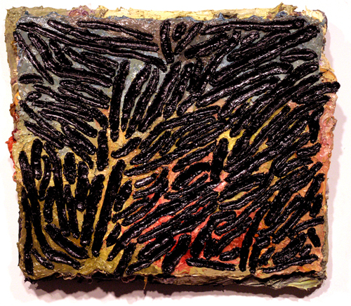 "the stoning of st.stephen , 2008 oil paint, medium on carpet 15"" x 17 1/2"""