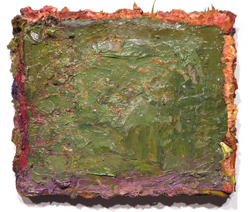 "this is not a landscape , 2007 oil, medium, paper on wool carpet 15"" x 17 1/2"""