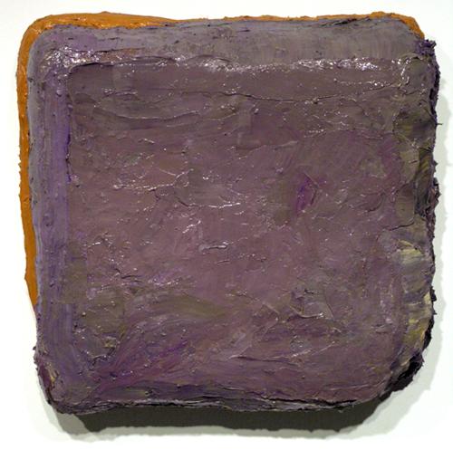 "tyson , 2008 oil, medium, paper on wool carpet 17 1/2 "" x 18 1/2"""
