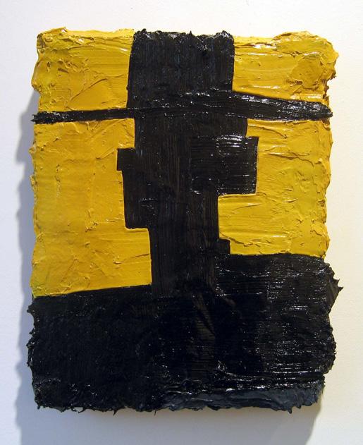 "Opaque Man , 2006 oil paint, medium on wool carpet 16"" x 13"" x 2"""