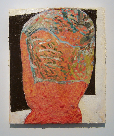 "Smacker , 2007 oil, medium, paper on wool carpet 16"" x 13 1/4"""
