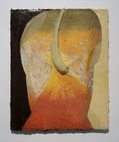 """Fashionatta , 2007 oil, medium, paper on wool carpet 16"""" x 13 1/4"""""""