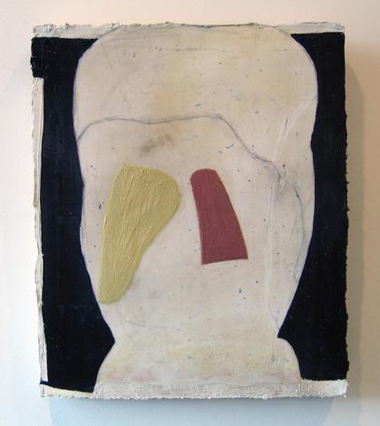 "On Dilema , 2007 oil, medium, paper on wool carpet 16"" x 13 1/4"""