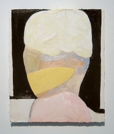 "Shape , 2007 oil, medium, paper on wool carpet 16"" x 13 1/2"""