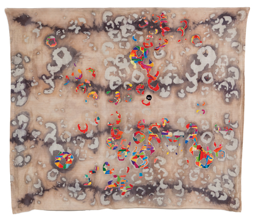 "Colony , 2010 cotton, dyes, wax, bleach, thread, wax resist, dying, embroidery 84 "" x 98"""
