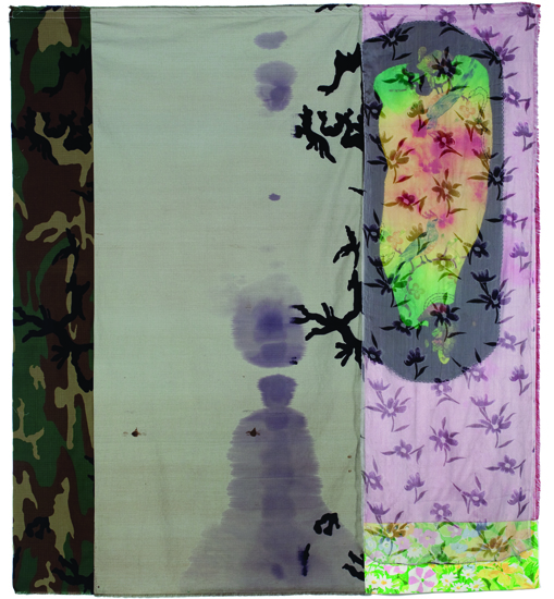 "Satori , 2010 cotton, synthetics, dyes, acrylic, wax resist,  bleach and dye prints, embroidery 62 "" x 56 """