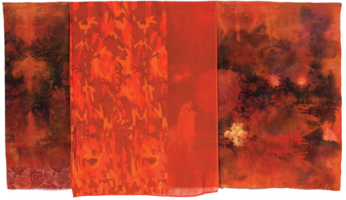 "Firestorm , 2009 cotton, synthetic fabric, dyes, acrylic, thread  wax resist, dying, bleach and dye prints,  painting, sewing  56 "" x 100 """