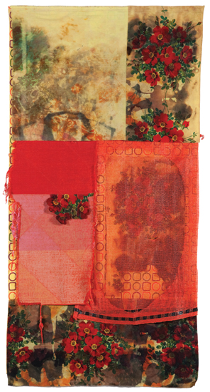"Wild Rose , 2010 cotton, sacking, dyes, wax resist, bleach and dye prints 74 "" x 38 """