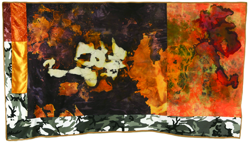 "Insurgency,  2006 cotton, synthetics, dyes, acrylic,  wax resist, bleach and dye prints 68 "" x 116 """
