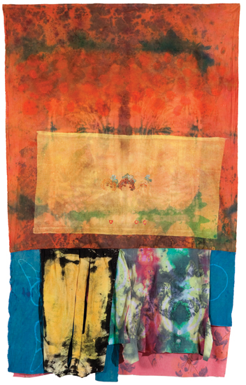 "The Wash , 2010 cotton, linen, synthetics, dyes, acrylic,  bleach and dye prints, embroidery 89 "" x 57 """