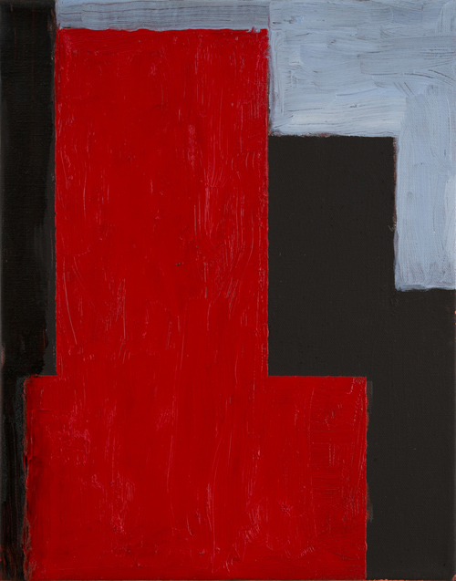 "A Study in Black and Red , 2012 oil on canvas 14"" x 11"""