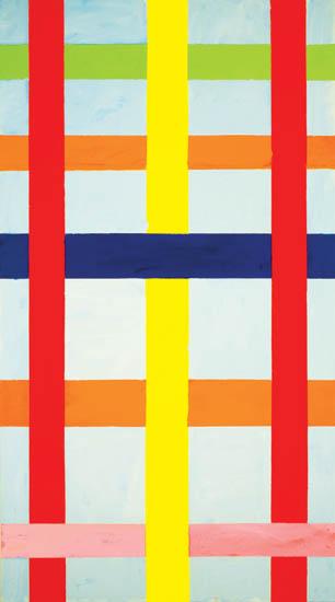 """blue sky with lattice , 2008 oil on canvas 61"""" x 34 """""""