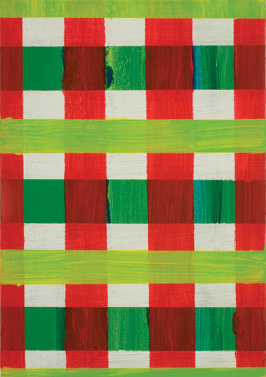 "study in red green and white , 2008 oil on canvas 12"" x 9 """