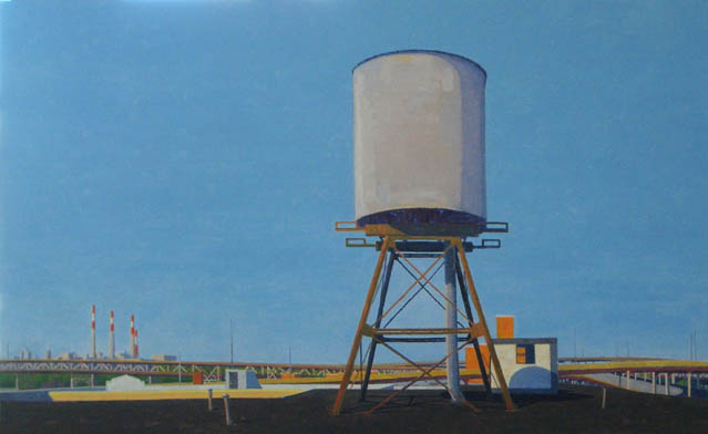 Water Tower, Spring (afternoon) , 2008 oil on linen  26 x 42 inches