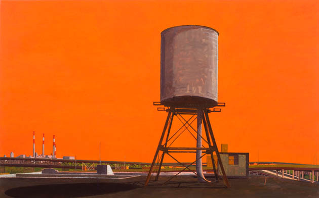 Water Tower, Summer (morning) , 2008 oil on linen  26 x 42 inches