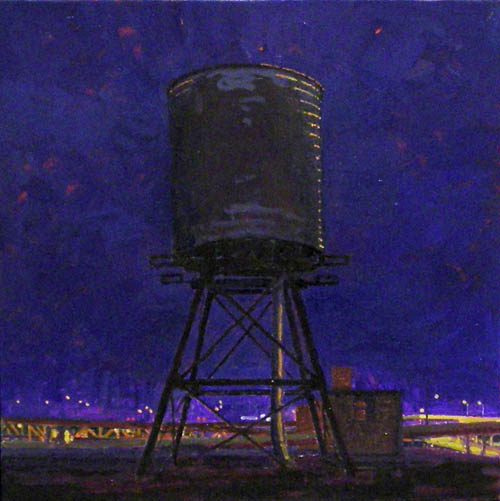 Water Tower, Summer (night) , 2008 oil on linen 13 x 13 inches