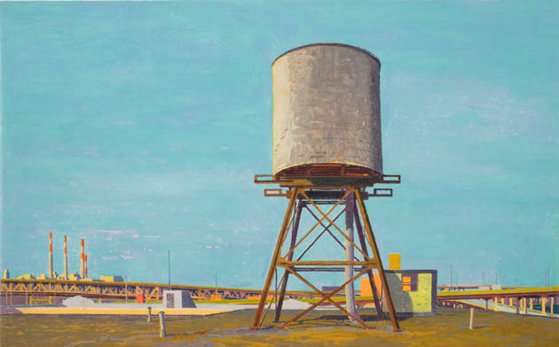 Water Tower, Winter (afternoon) , 2008 oil on linen  13 x 21 inches