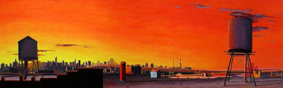 A Day for Songs and Contests , 2008 oil on linen 42 x 132 inches