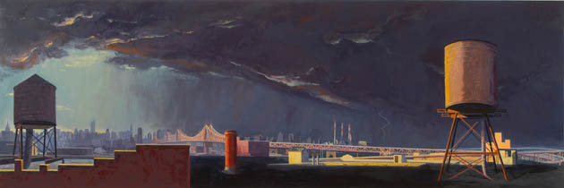 Approaching Storm, Long Island City , 2008 oil on linen 21 x 63 inches