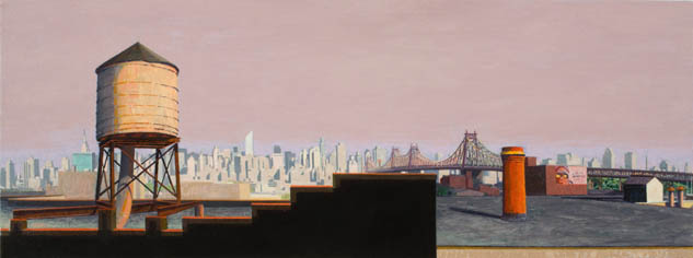 Out Across the Air , 2008 oil on canvas 15 x 40 inches