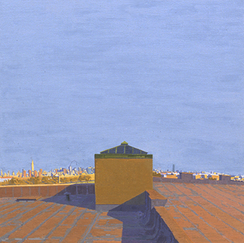 Manhattan and Queens , 2002 oil on linen 20 x 20 inches