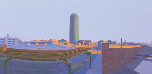The Number 7 , 2003 oil on canvas  21 x 63 inches