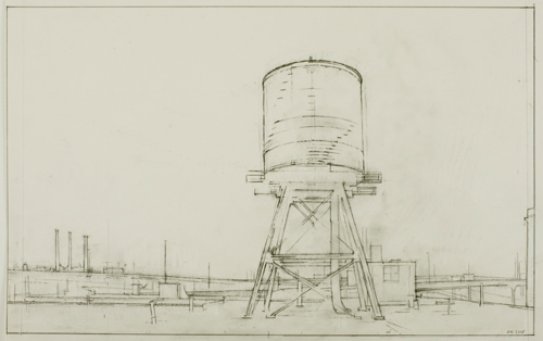 Water Tower, LIC , 2008  pencil on paper  19 x 24 inches