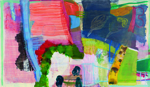 ransack , 2016-17 oil, wax pastel and colored pencil on canvas 42 x 72 inches