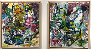 James Bohary  Helping Hands of the Drop Off 1 & 2 , 2014 charcoal and acrylic on canvas 24 x 10 inches each (diptych)