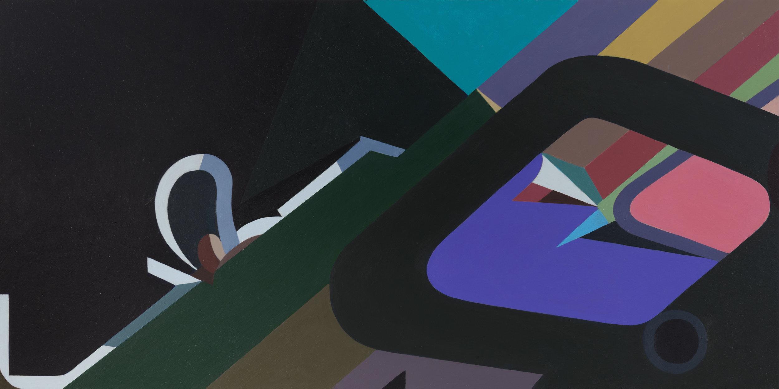 "Voyeur, 2017 acrylic on panel 12 x 24"""