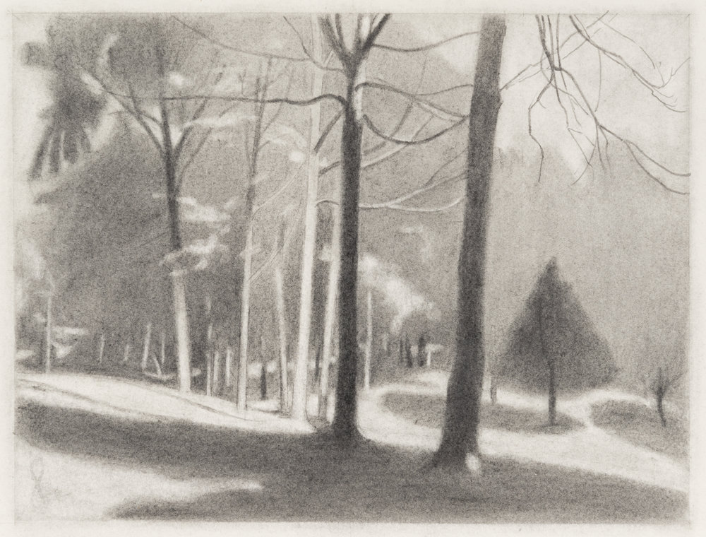 Hilltop Afternoon , 2016  pencil on paper  9 x 12 inches