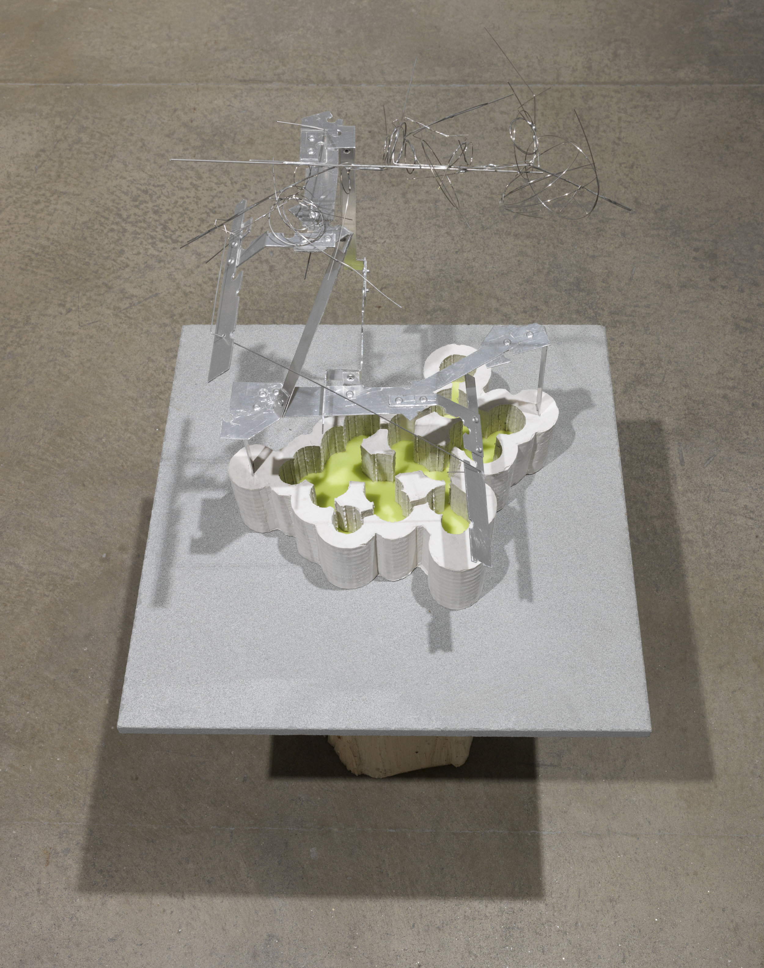 green cenote , 2017 hydrostone, aluminum, stainless steel wire, beeswax 18 x 12 x 12 inches